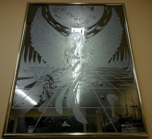 Custom sandblasted glass mirrors